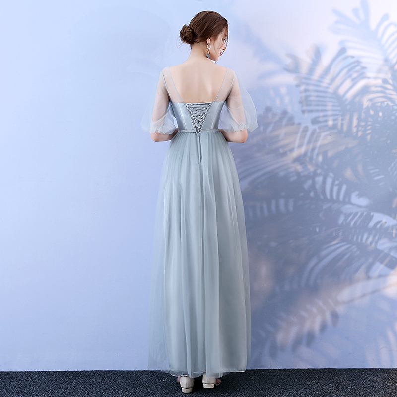 Grey Colour Bridesmaid Dress Female Long Mesh Sisters Wedding Dress Banquet Bandage in Bridesmaid Dresses from Weddings Events