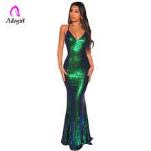 Green Sequin Dress 2018 Elegant Deep V Neck Party Dresses Maxi Backless Bodycon Evening Club Mermaid Floor Length