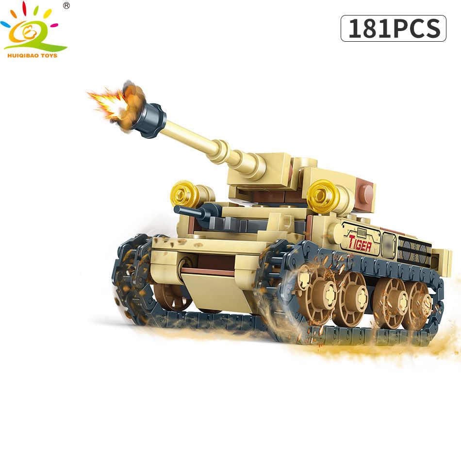 HUIQIBAO игрушки 678 шт. 4в1 армия WW2 буксировщик солдат строительный конструктор для детей Военная фигура транспортного средства Танк оружие Блоки для оружия