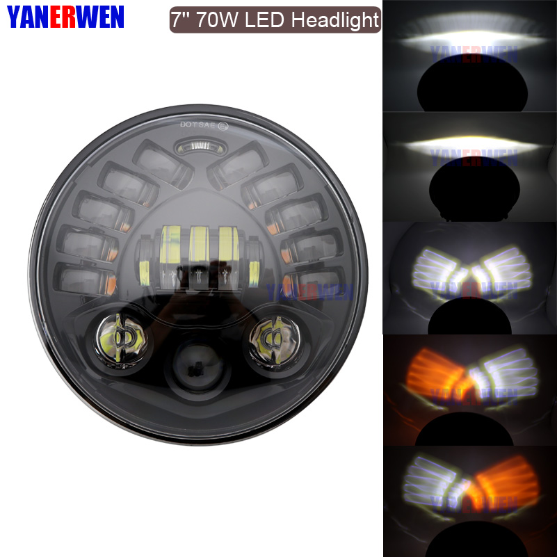 70W 7 inch Round motorcycle projector led headlight High/Low beam DRL Amber Turn signal for Moto Softail Slim Fat Boy