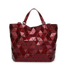 YUTUO Hot Sale Laser Refrac Folding Fashion Shoulder Handbag Messenger Bag  Casual Women Tote Top Handle 8cd5af5914113