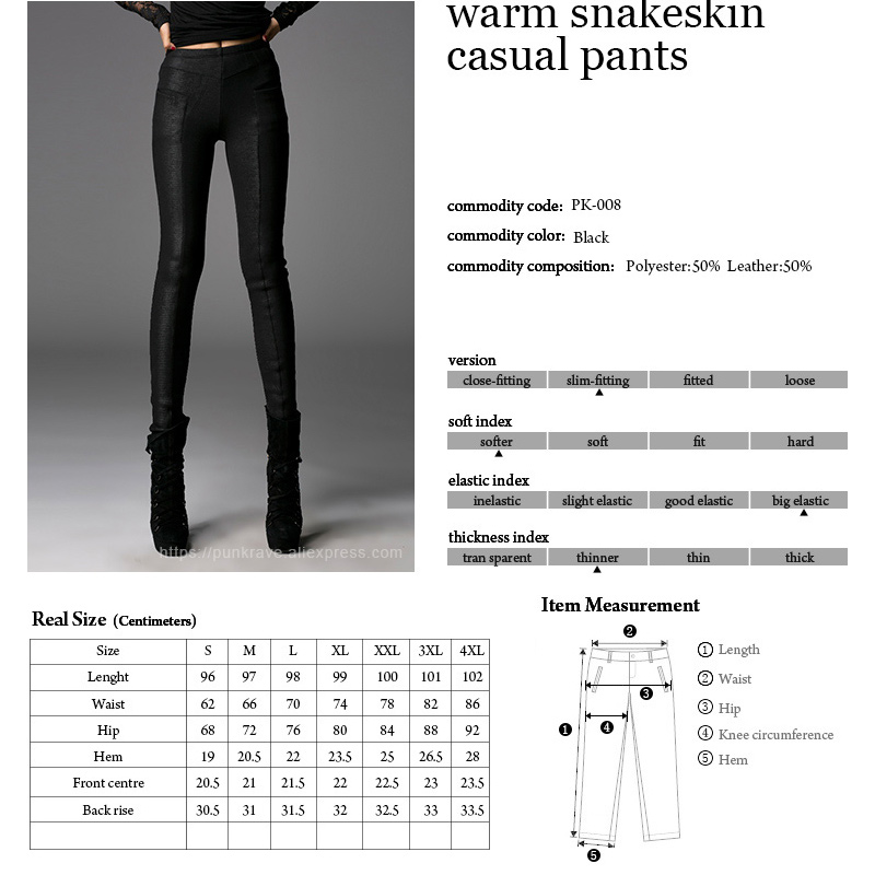 PUNK RAVE Gothic Winter Warm Snake Print Leather Casual Black Pants Victorian Punk Fashion Women Leggings Trousers in Leggings from Women 39 s Clothing