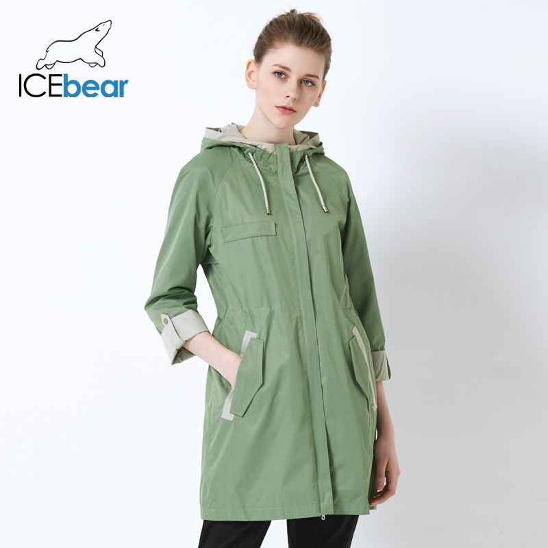 ICEbear 2019 new women's   trench   coat loose women's coat high quality hooded brand windbreaker GWF18003I