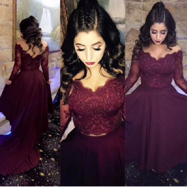 Lace Long Sleeve michael korns Formal Evening party dresses 2017 V Neck Arabic With Open Back Two Piece evening dress kadisua