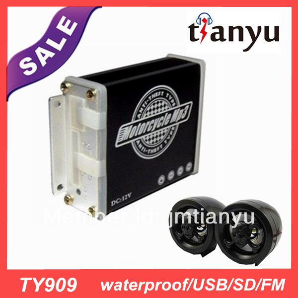 US $26 05  wholesale free shipping waterproof china DC12V motorcycle mp3  audio anti theft alarm system stereo speaker with fm/usb TY909-in Theft