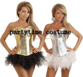 free shipping Sexy Sequin Corset Top & Separate Tutu, Skirt Showgirl Basques Costume