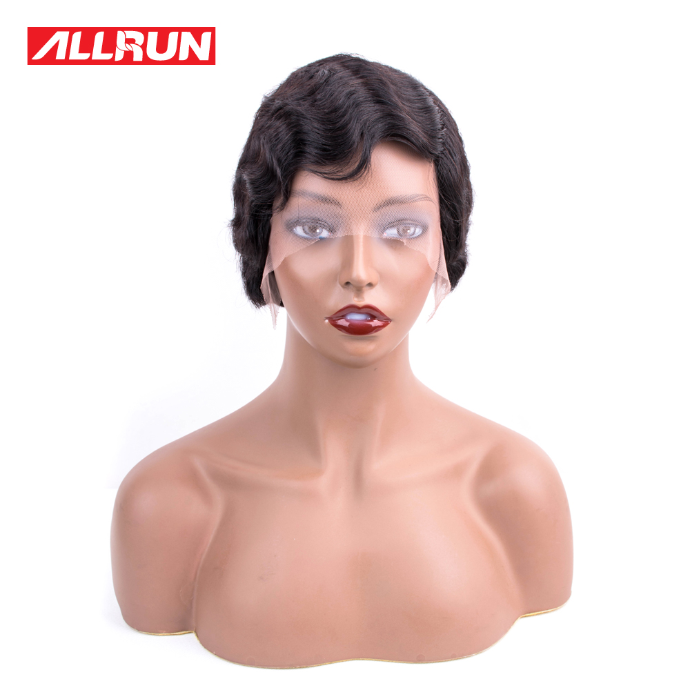 Allrun Ocean Wave Side Part Lace Front Human Hair Wigs Bob Wig Women Natural Ear To Ear Brazilian Remy Human Hair Lace Front Wig Hair Extensions & Wigs