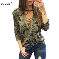 Fashion Lace Bandage Camouflage T Shirts For Women Sexy Long Sleeves Clothes Hollow Out Army Green
