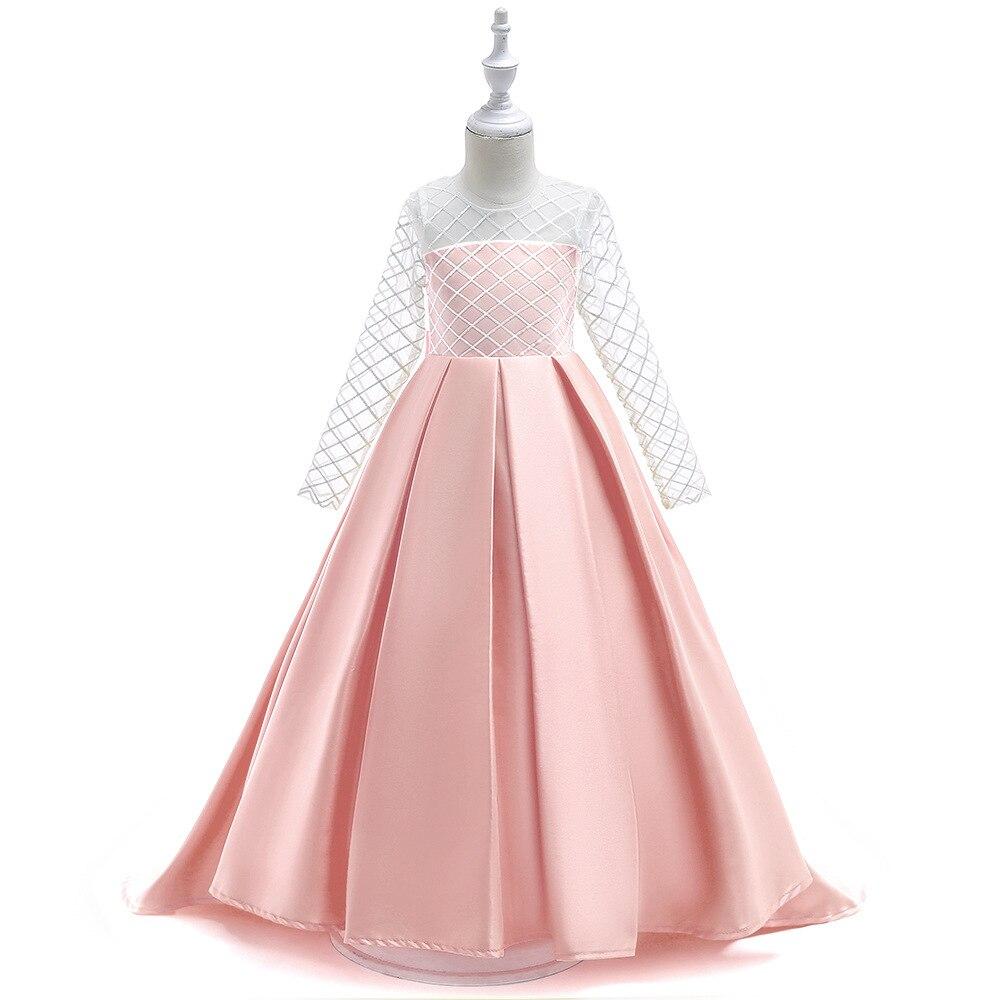 Pink O-Neck Bling   Flowers   Kids Princess   Flower     Girls     Dress   Party Evening Children Long Ball Gown 2019