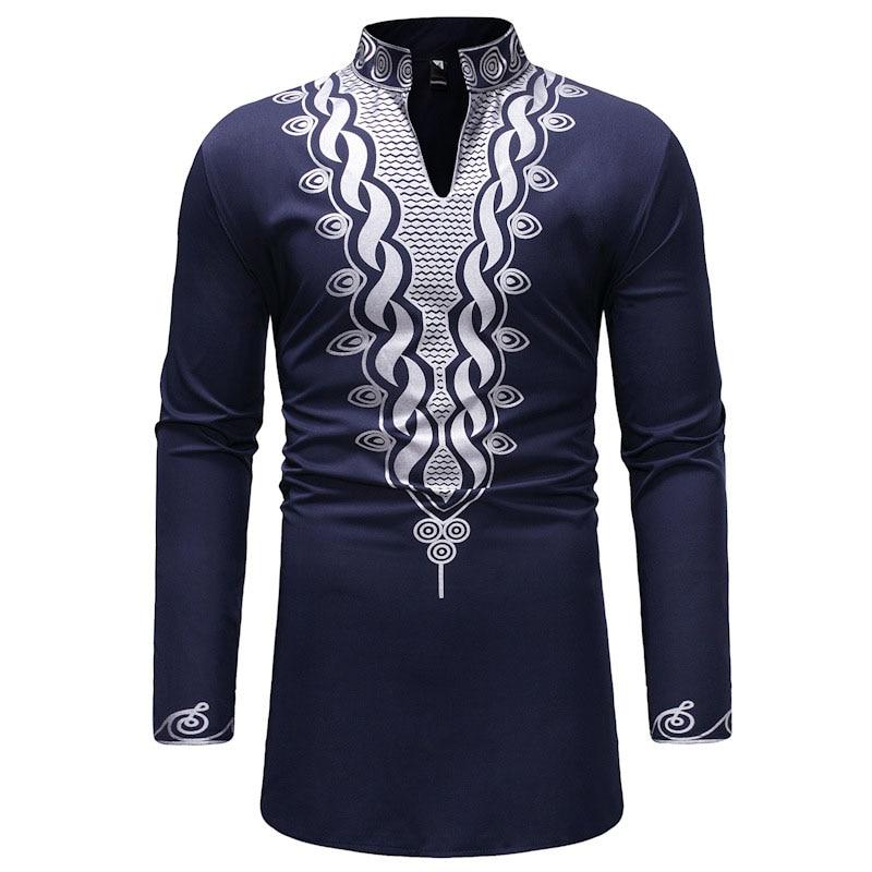 2 Colors African Men Dashiki Black Pullover Shirt Polished Tribal Printed Slit Neck High Collar Tunic Shirt Top Wear For Men 3XL