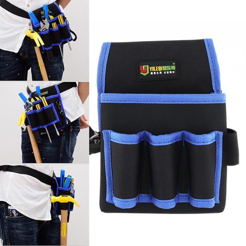 Multifunctional Thickened Oxford Cloth Waterproof Tool Bag With 3 Holes 1 Pocket And 80cm Hanging Strap For Maintenance Tools