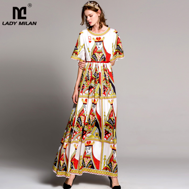 High Quality Womens O Neck Flare Sleeves Characters Cartoons Printed Fashion Long Casual Dresses Floor Length Designer Dresses