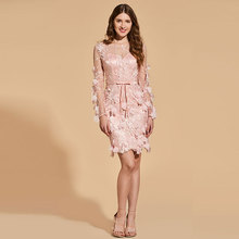Tanpell lace cocktail dress appliques scoop neck button knee length sheath gown women party custom dresses