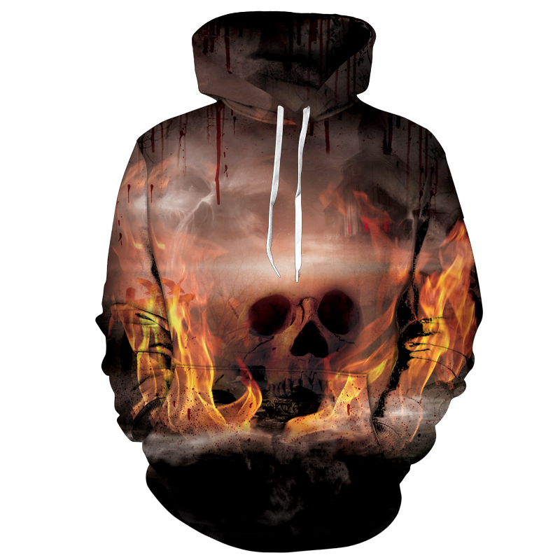 Cloudstyle Burning Skulls Hoody Long Sleeve Men Pullover Streetwear Style Hooded Sweatshirts Fashion Design Plus Size 5XL