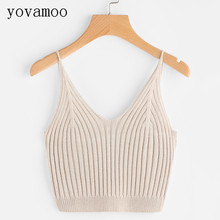 Yovamoo 2018 New Fashion Summer Solid Color V-neck Women Crop Top Short Style Casual Knitted Tank Tops Camis Slim Camisole