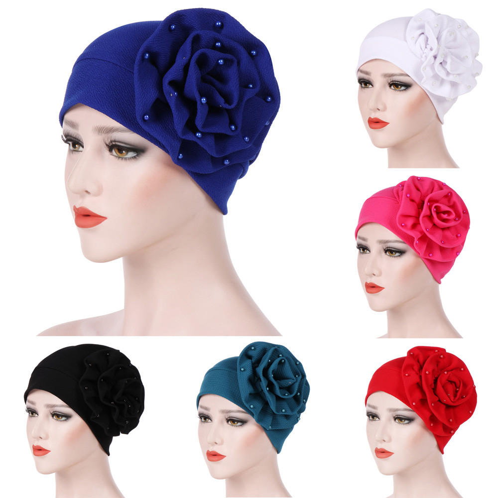 Muslim Turban Hats For Women Beading India Slouchy Beanie Cap Skullies Caps  Fashion Flower Female Stylish Beanies Hat PJ0913-in Women s Hair  Accessories ... 982f242d553