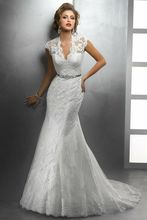Romantic Style Deep V-neck Rhinestone Sashes Lace Covered Back White Mermaid Wedding Dress 2014 New Fall Winter Gowns zy1159