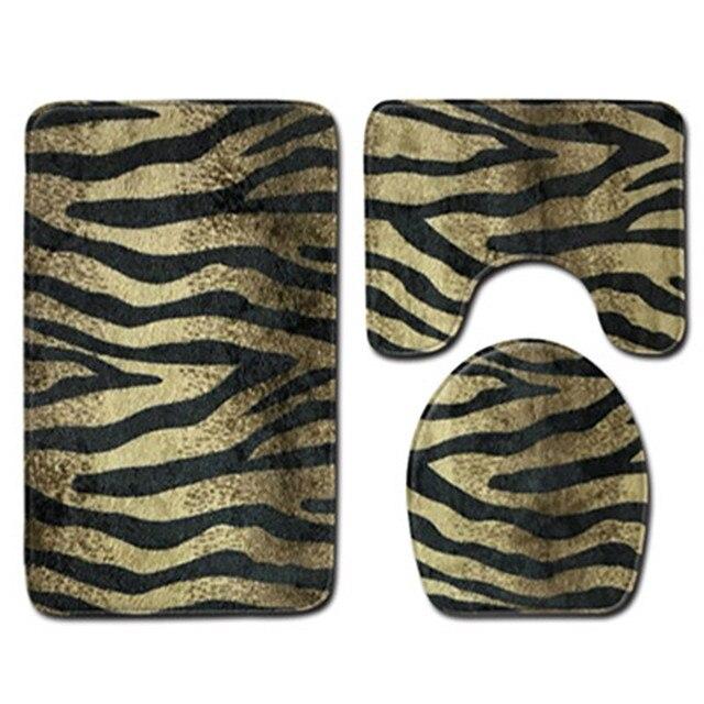 3 pz/set Bagno Zerbino Set Non-Slip Pesce Bilancia Cucina Bagno Tappeto Porta Zerbino s Decorazione modello Della zebra del Leopardo tappeto di stampa 2019