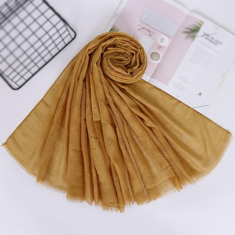 2019 Spring Cotton Hijab Scarf Plain Maxi Plaid Wraps Hollow Shawls Muslim Scarves Fashion Long Headband Neck Pashimina Scarves