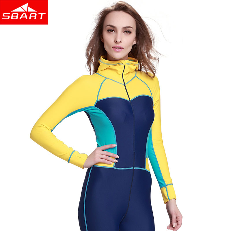 SBART Lycra Women Long Sleeve Diving Wetsuit One Piece Spearfishing Surfing Wetsuits Hooded Scuba Diving Equipment Wet Suit