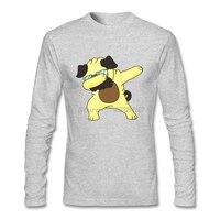 Tiener Slim Casual T-shirt Maken Deppen Pug Tees met Pug Hond Mannen Lange mouwen Mannen T-Shirts
