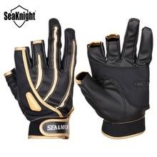 SeaKnight SK01 Outdoor Fishing Gloves 1Pair 3 Finger Cut Breathable Anti-Slip Gloves Neoprene cloth&PU Winter Fishing Equipment