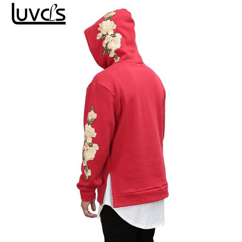 LUVCLS New Unisex Mens Embroidery Flower Hooded Pullover Fashion Women/men Long Sleeve Hot Hoodies Casual Sweatshirts Big Size ...