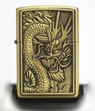 High Quality Dragon bronze Fashion oil kerosene lighters Windproof Metal Smoking Fuel Lighters with Free Flintstone
