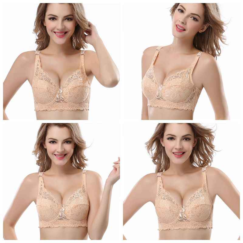 5307501f5f5e2 ... Push Up Bra Plus Size 34-46 B C D cup bhs Sexy Embroidery Lace Bras  Intimate ...