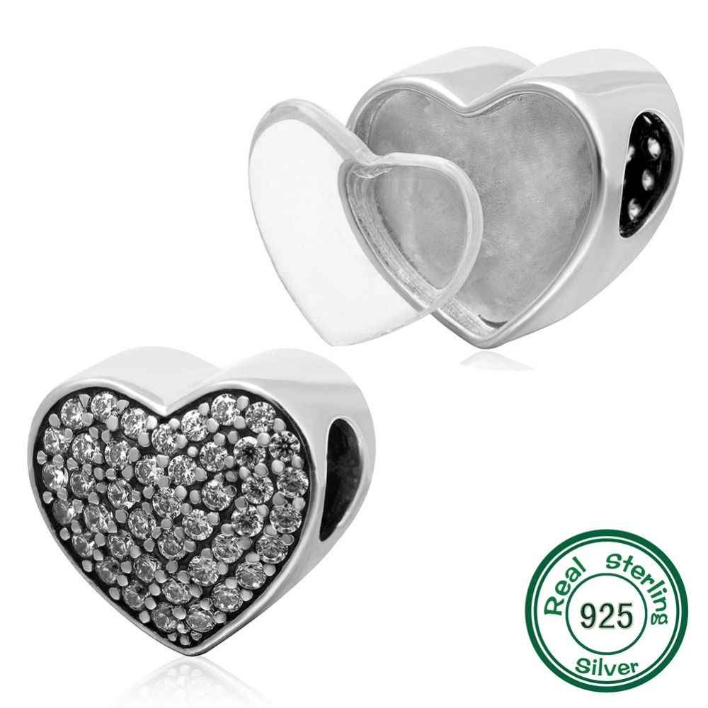 New DIY Photo Heart Charms 925 Sterling Silver Heart Beads fits Pandora Charms bracelets & Necklaces
