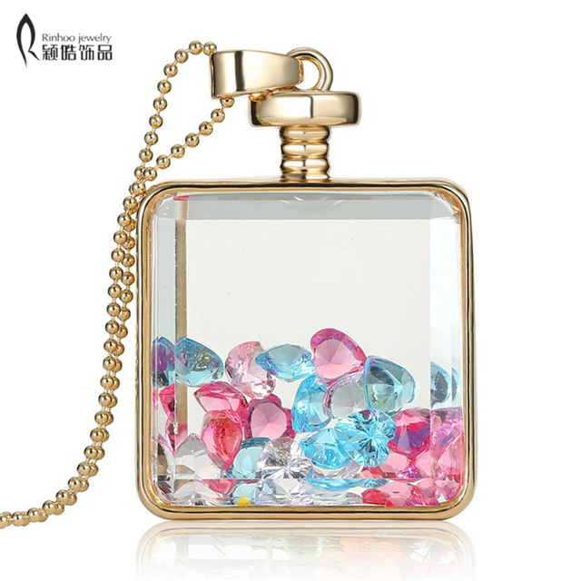 Fashion memory glass locket pendant necklaces trendy crystal charms fashion memory glass locket pendant necklaces trendy crystal charms inside bottle jewelry necklace women gift aloadofball Image collections