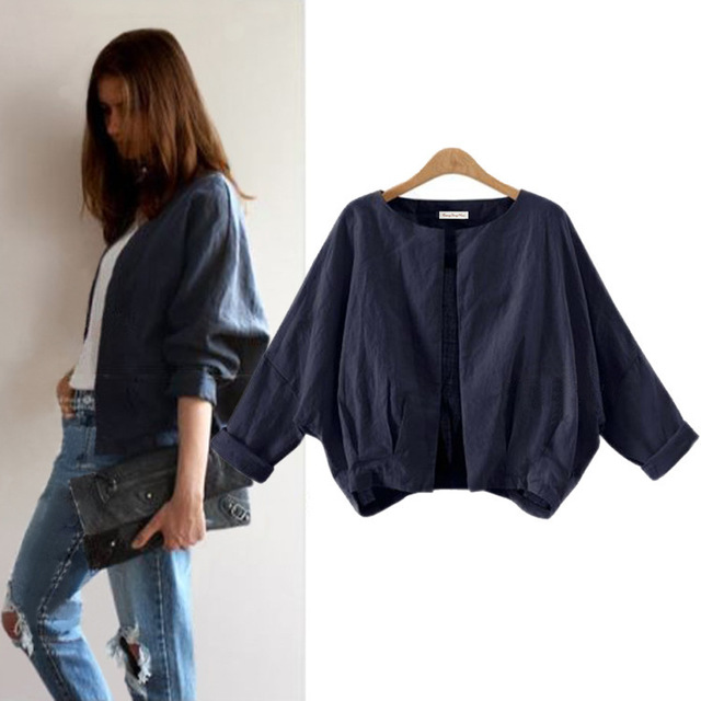 Autumn 2016 New Fashion Open Stitch Casual Bat Sleeve Thin Long Sleeved Cardigan Bomber Jacket Chaquetas Mujer Women Coat