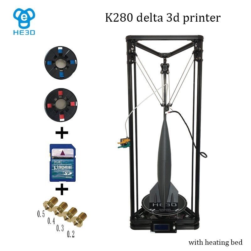 2017 upgrade He3D large printing size reprap K280 delta 3d printer  single metal Extruder and heat bed support multi material original anycubic 3d pinter kit kossel pulley heat power big size 3d printing metal printer fast shipping from moscow