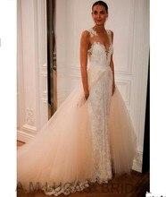 Luxury Mermaid Wedding Dresses 2017 V Neck Lace Appliques Bridal Dress Party Gowns Fairytale Princess Robe De Mariage
