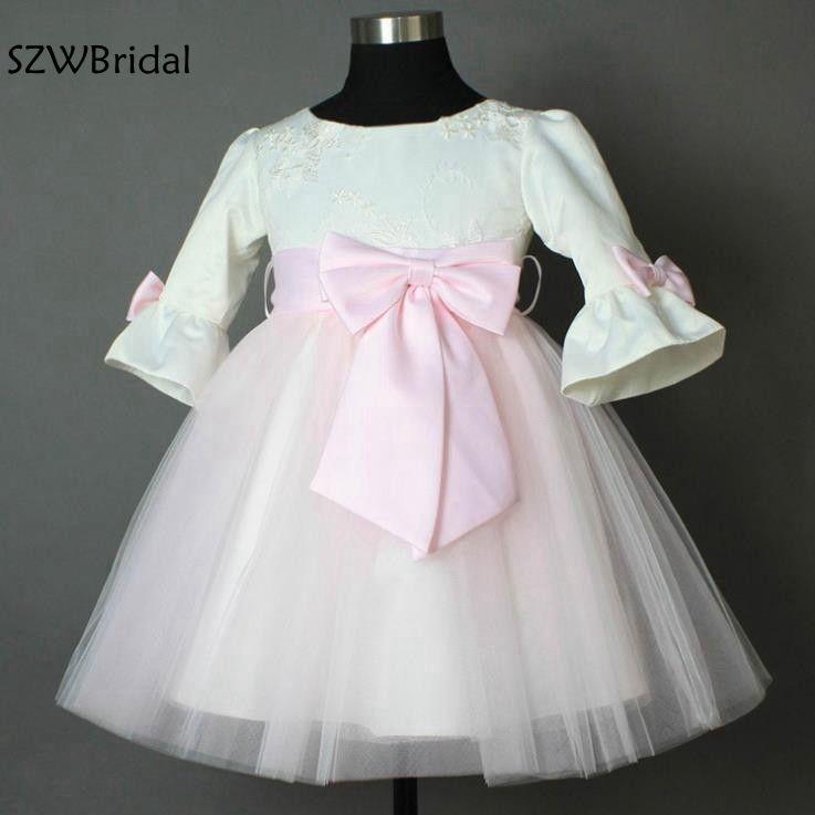 New Arrival Long sleeve   Flower     girl     dresses   2019 O neck Pink skirt Vestidos de primera comunion Vestido de daminha