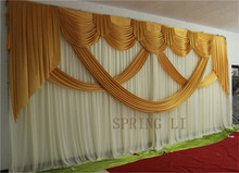 2015 NEW Designed Wedding Party Backdrops curtain with luxurious Gold Swag Darped for Wedding Decorations 3m*6m