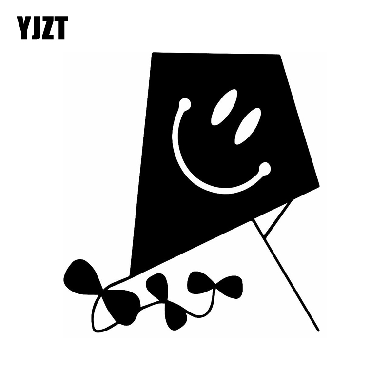 YJZT 12.4CM*13.5CM Vinyl Decal Car Sticker Kite With Happy Face Black/Silver C3-0439 image