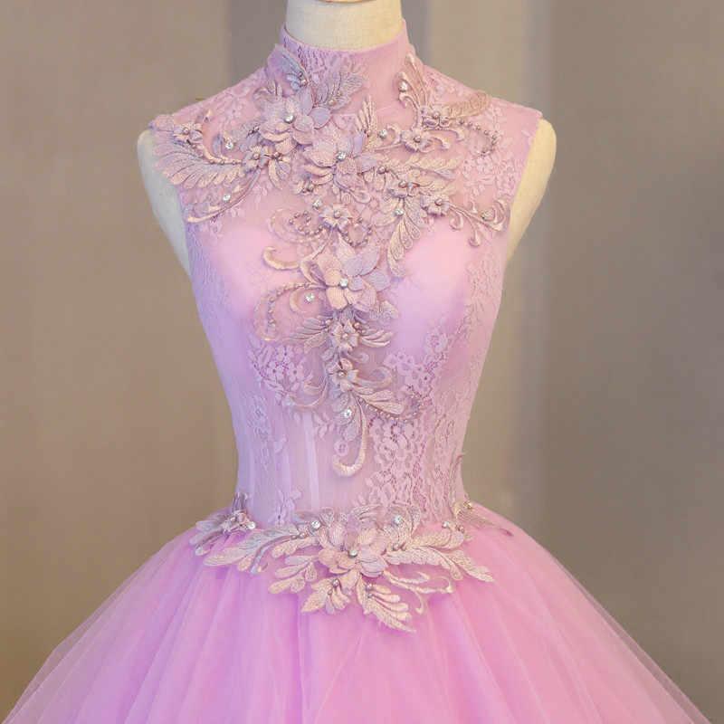 Romântico Alta Neck Lilás Vestidos Quinceanera Backless Princesa Inchado vestido de Baile Sweet Sixteen Vestidos de Vestidos De 15 Años 16