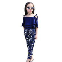 Girls Suits 2019 Summer Kids Girls Clothes Sets Cotton Sleeveless Print Strap Children Clothing Girls Outfits 4 6 8 10 12 Years стоимость