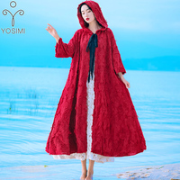 2019 Spring Women Loose Ponchos Half Sleeve with Hooded Cloak Women Cardigan Cloak Hood Cape Red Long Coat Cotton Hooded Poncho