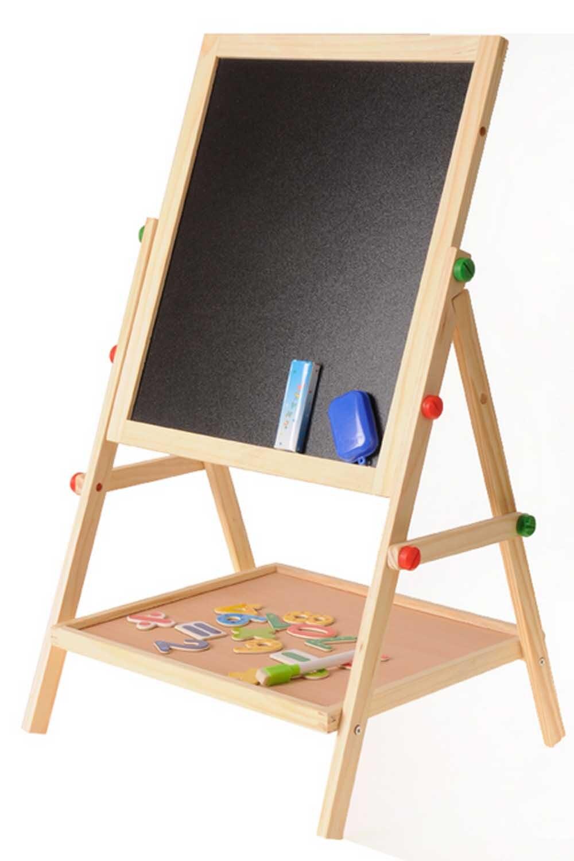 Per bambini In Legno 2 In 1 Regolabile Lavagna Lavagna Double Sided Disegno Tabellone per scrittura Cavalletto Tavolo Da Disegno Pittura Giocattoli Divertenti