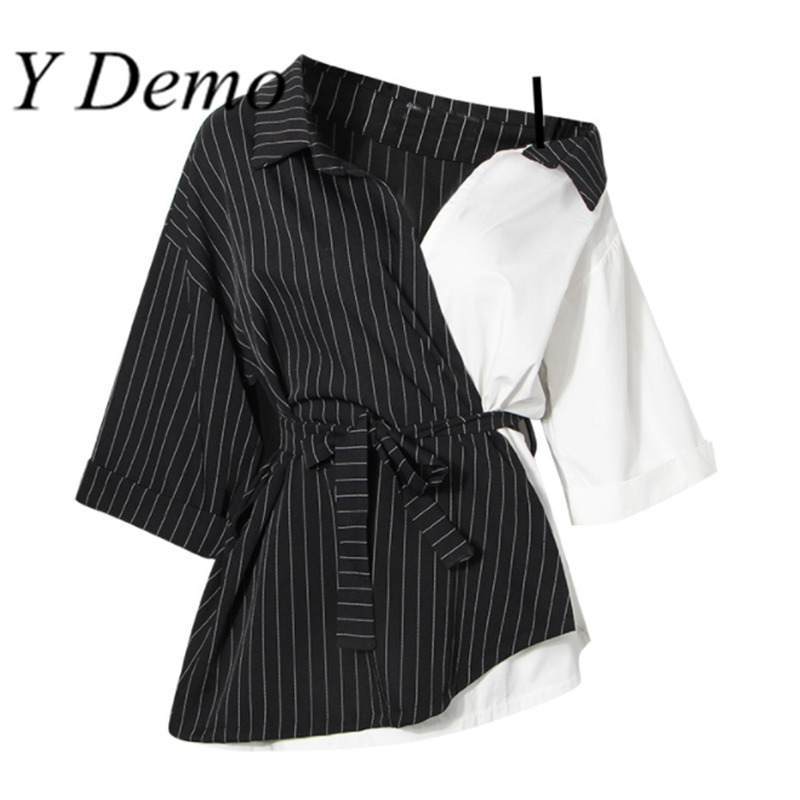 Y Demo New Seven Sleeve Stripe Irregular Shirt Woman 2018 Summer Tops