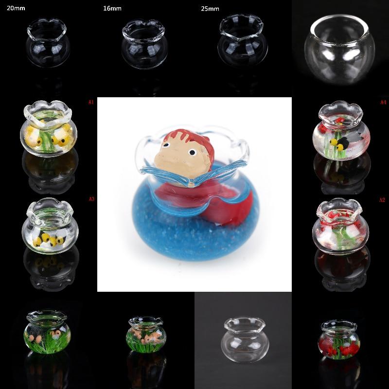 Glass Fish Tank Transparent Aquarium Dollhouse Home Ornaments Kids Toys Doll Toy Gift Pretend Play Toys 1:12 Dollhouse Miniature
