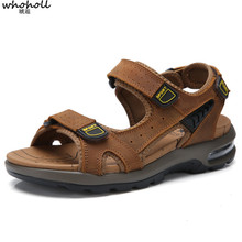 WHOHOLL Brand Men Cow Leather Sandals Top High Quality Breathable Summer Shoes Hand Made Classics Soft Casual