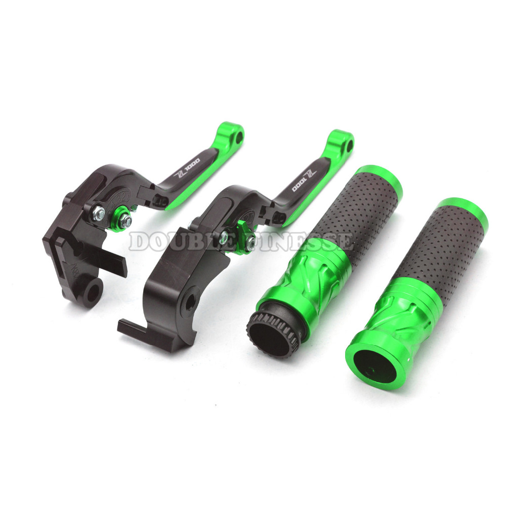 Green CNC Motorcycle Folding Adjustable Brake Clutch Levers Handlebar For KAWASAKI Z1000 07 08 09 10 11 12 13 14 15 16 adjustable new cnc billet short fold folding brake clutch levers for kawasaki z750 z 750 07 12 08 09 10 11 z800 z 800 13 15 2014