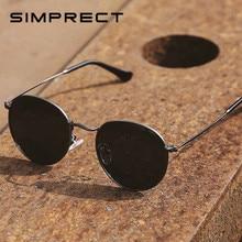 Simprect 2021 redondo polarizado óculos de sol dos homens das mulheres espelho preto uv400 alta qualidade do vintage marca designer óculos de sol