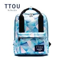 TTOU Women Canvans Backpack Bag Female Fashion Geometric Leisure Big Capacity Travel Backpacks School Bag