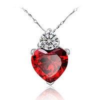 הכי חדש כסף אדום תליון לב קריסטל שרשרת תליון תכשיטי פנינת אופנה אביזרי מסיבת נשים JEW01155