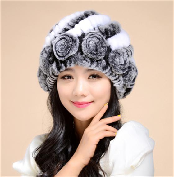 Mulheres Real Rex Rabbit Fur Chapéus Feminino Orelha Quente Natural Gorros Meninas Outono Headwear Gorro Touca térmica de Inverno Para Senhoras chapéu