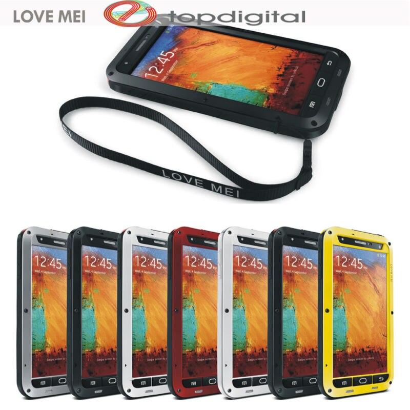 imágenes para AMOR MEI Prueba de Golpes Funda Impermeable para Samsung Galaxy Note 3 Nota III Cubierta Metálica Completa Protector de Pantalla de Cristal Templado